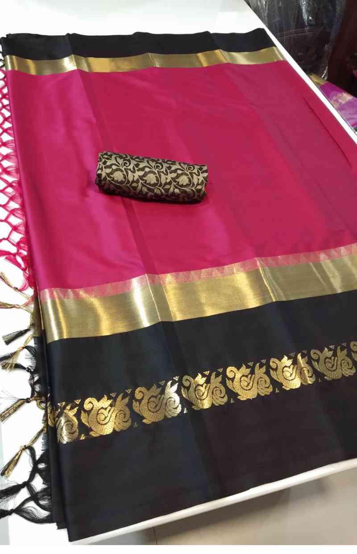 "Pink And Black jacquard Latest Party Wear Stylish Bollywood Designer Saree   30"""