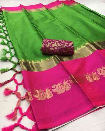 Green And Pink jacquard Latest Party Wear Stylish Bollywood Designer Saree   30""