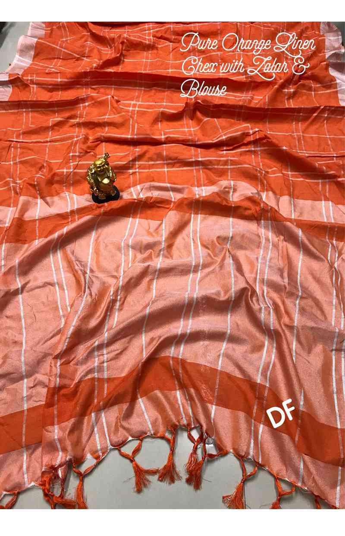 """Fantastic Orange Colour pure linen Designer Saree  30"""""""