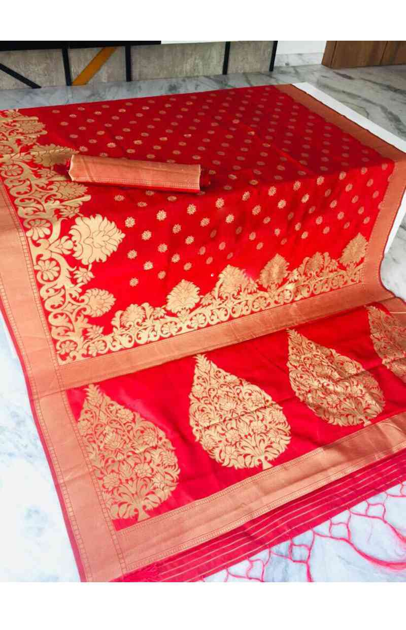 Neurocell Red Color Silk Party Wear Saree With Blouse Piece  30""