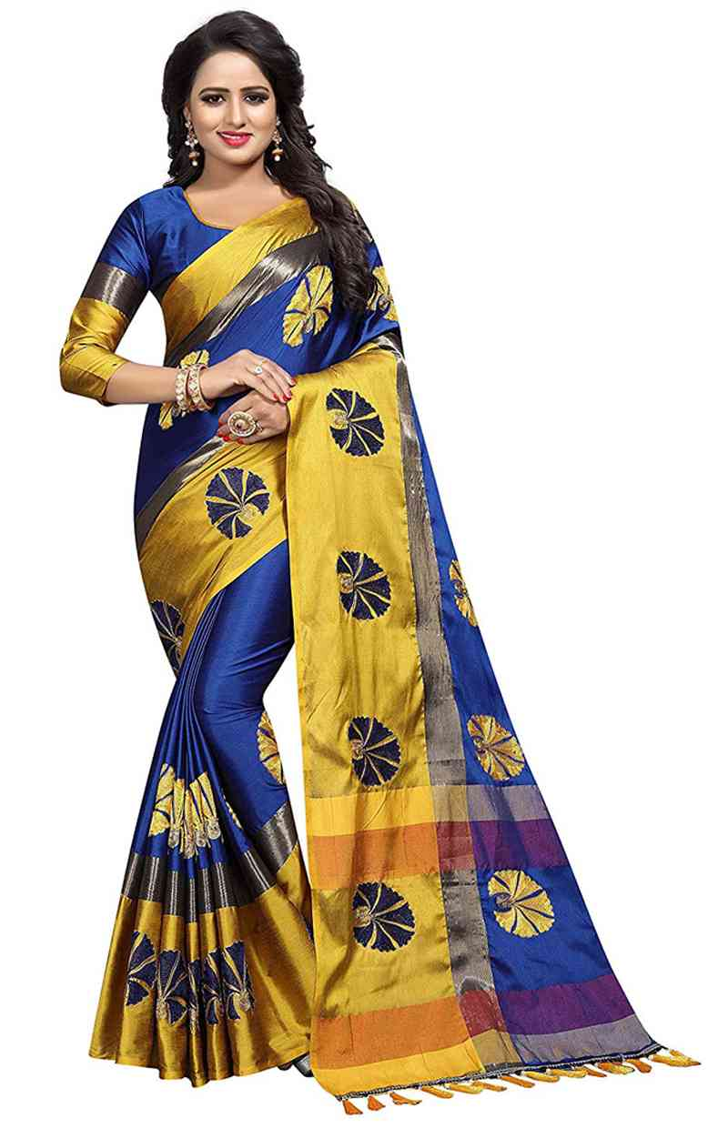 """Breezz Blue And Lime Embroidered Cotton Silk New Bollywood Designer Saree  30"""""""