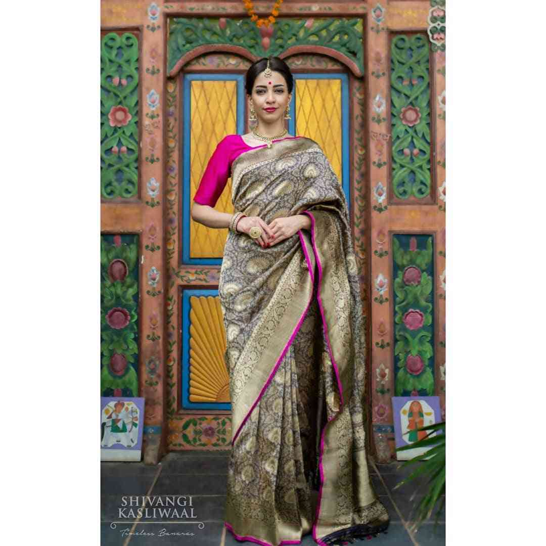"""Heavy Beige Color Zarna Silk Printed Saree With Blouse Piece  30"""""""