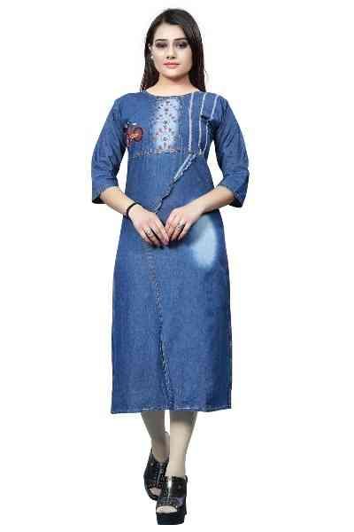 "Navy Blue Color Denim Front Slit Embroidered Kurti All Size  30"""