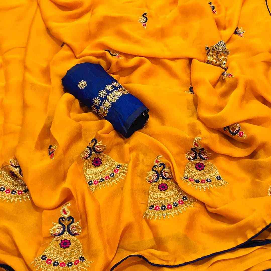 NEW DESIGNER MUSTARD CHIFFON SAREE WITH EMBROIDERED WORK  30""