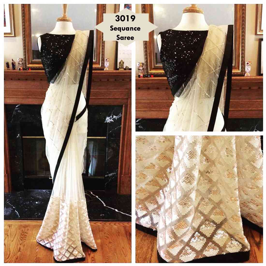 White And Black Net Saree With Blouse Piece  30""