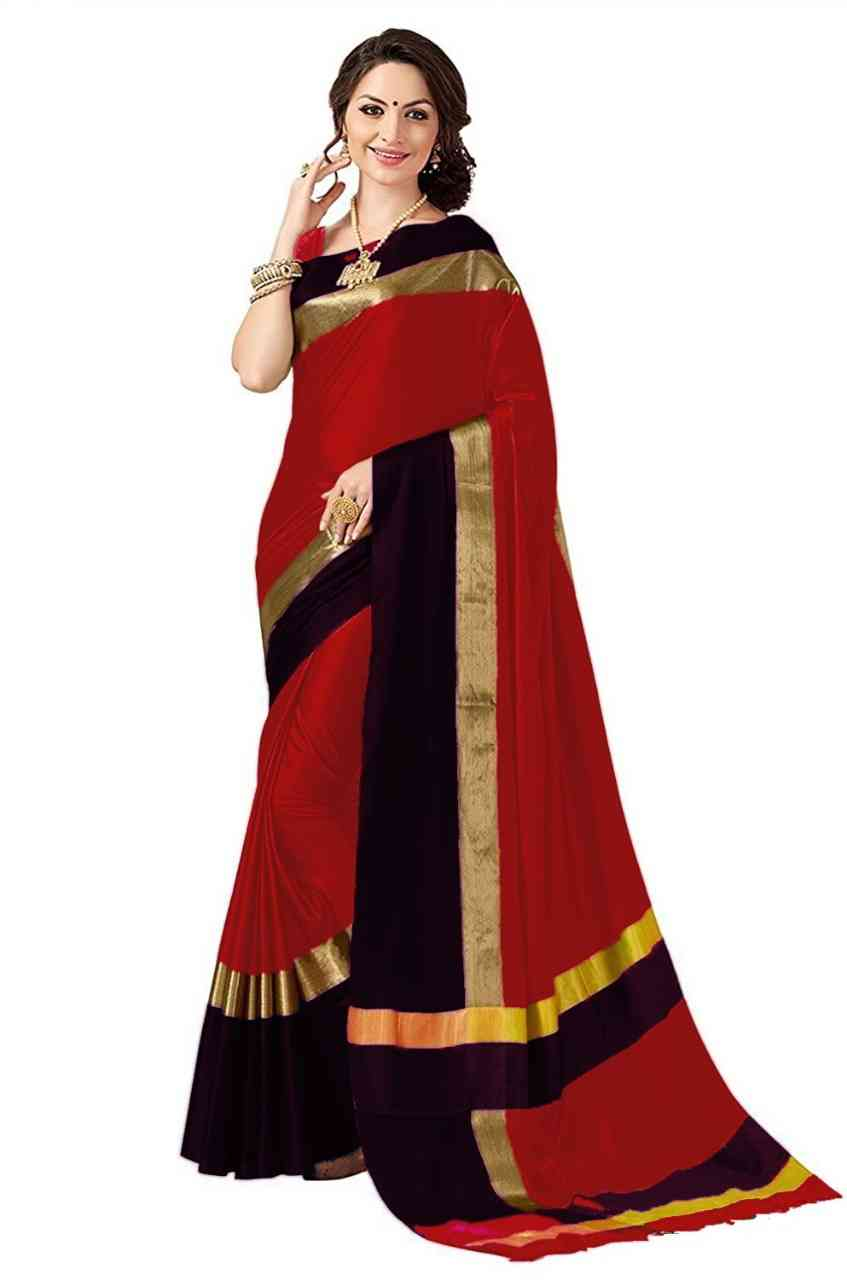 """Refreshing Red And Black Colour Cotton Silk Plain Golden Border Party Wear Saree  30"""""""