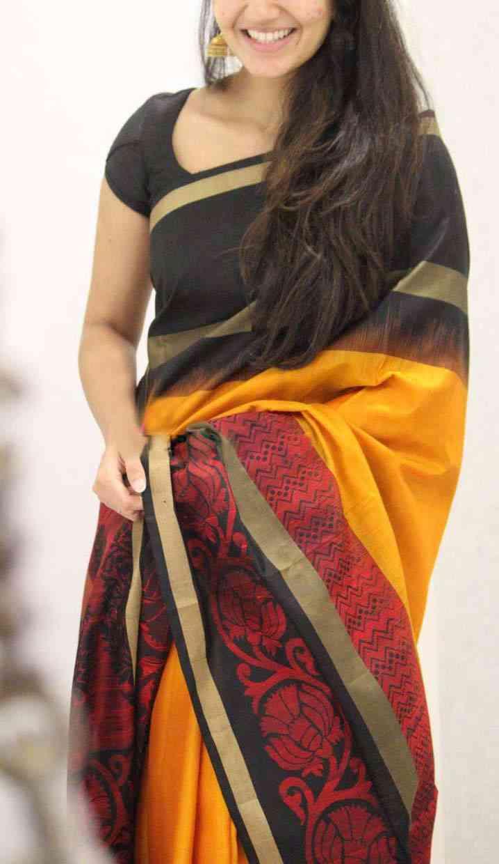 "Blooming Orange Colour Zarna Silk Printed Saree With Blouse Piece  30"""