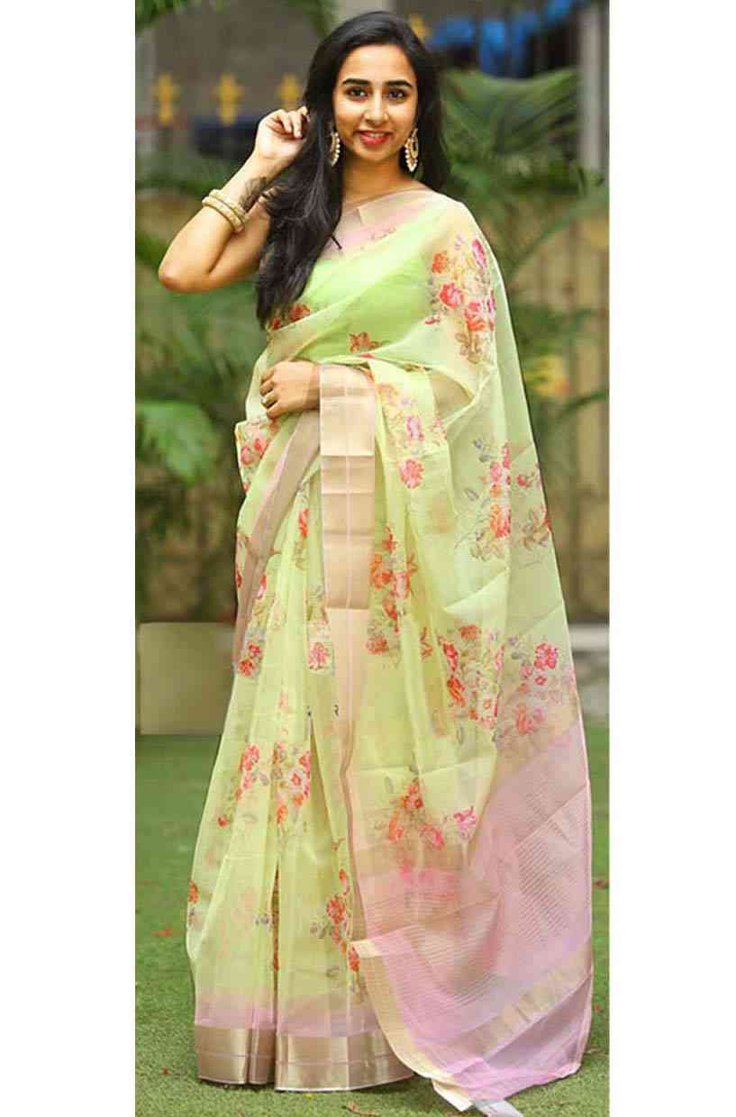 Mesmerising Green Designer Printed Organza Silk Saree With Unstitched Blouse  30""