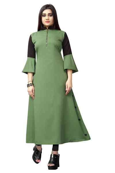 Light Green Color Crepe Cut Anarkali Kurti All Size  30""