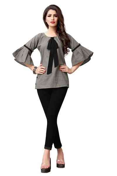 Grey Color Cotton Western Top All Size
