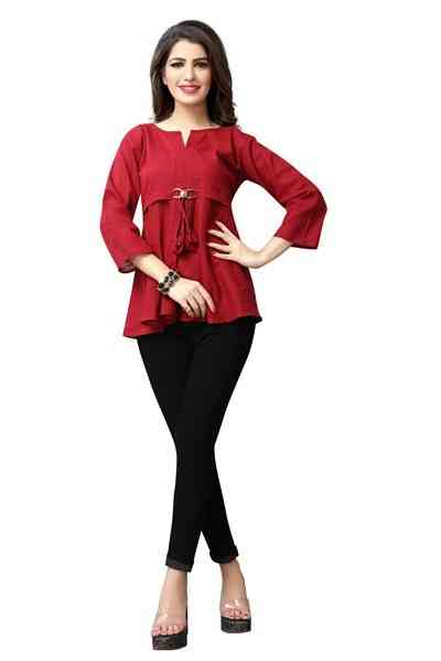 Red Color Cotton Western Top All Size