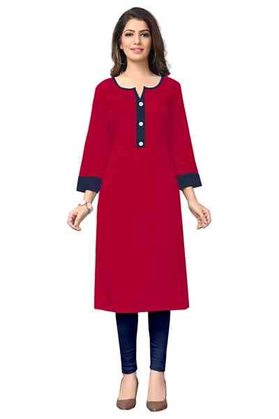 Red Color Straight Cut Crepe Kurti All Size  30""