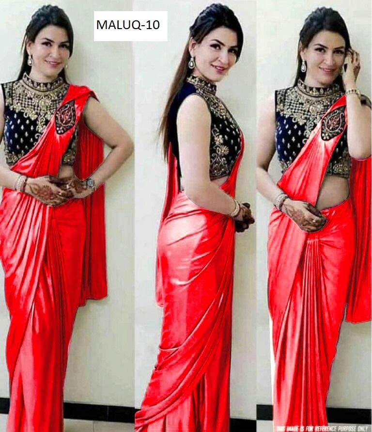 99e82ece30 Red Color Plain Silk Saree With Embroidered Blouse | www.avkcart.com