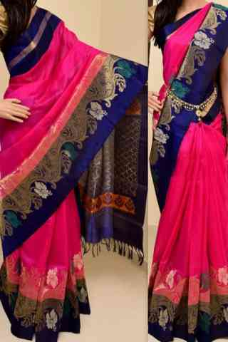 Eye Catching Pink  Color Soft Silk Saree - cnd780