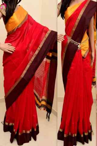 Stylish RedColor Soft Silk Saree - cnd796