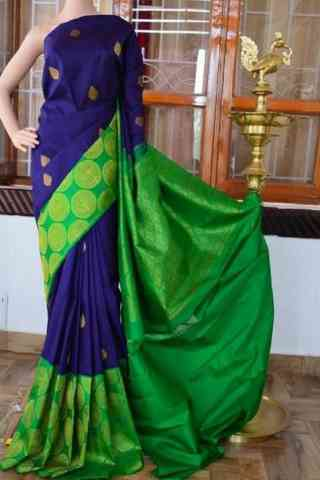 Delightful  Blue n Green Color Soft Silk Saree - cnd805