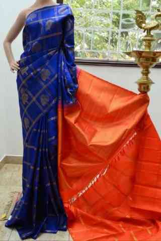 Dynammic Blue n Orange Soft Silk Saree - cnd810