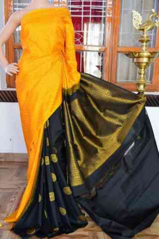 Enriching Yellow n Black Color  Soft Silk Saree - cnd827