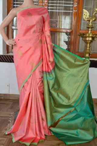 Modish Peach Color  Soft Silk Saree - cnd830