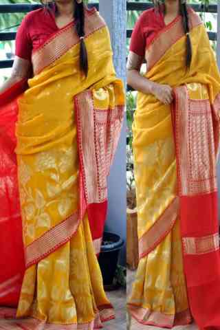Enrich Yellow n Red Color Soft Silk Saree - cnd835