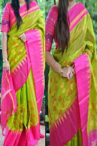 Blooming Green n Pink Color Soft Silk Saree - cnd841