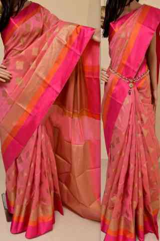 Enriching Peach Color Soft Silk Saree - cnd842