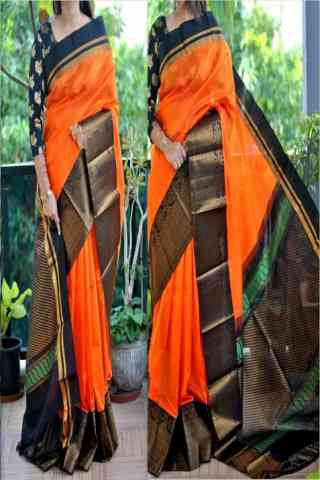 Alluring Orange Color Soft Silk Saree - cnd860
