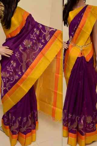 Beautiful Purple Color Soft Silk Saree - cnd865