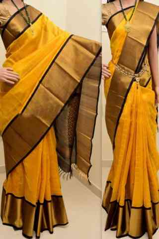 classic Yellow Color Soft Silk Saree - cnd869