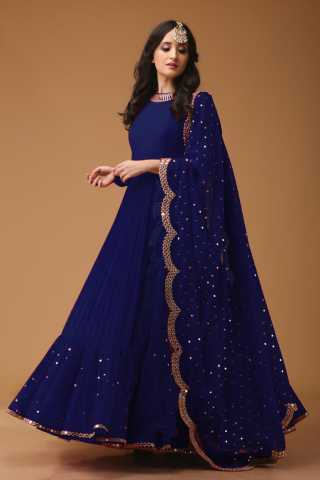 Desirable Blue Colored Georgette Fabric Party Wear Mirror Work Anarkali Suit With Dupatta - AS1001