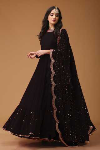 Eye-catching Black Colored Georgette Fabric Party Wear Mirror Work Anarkali Suit With Dupatta - AS1002