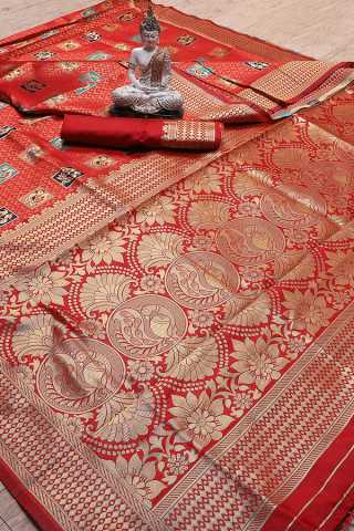Red Colored Jacquard Work Saree With Blouse Piece