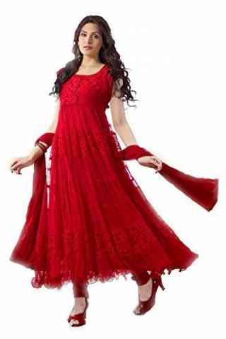Gorgeous Red Color Brasso Net Fabric  Anarkali Style Suit