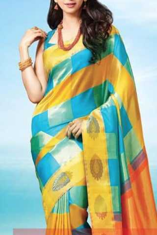 Dazzling Yellow-Blue Colored Soft Silk Saree - CD131
