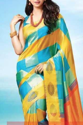 Dazzling Yellow-Blue Colored Soft Silk Saree - CD131