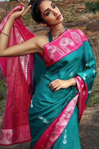 Excellent Pink Border Soft Silk Saree - CD137
