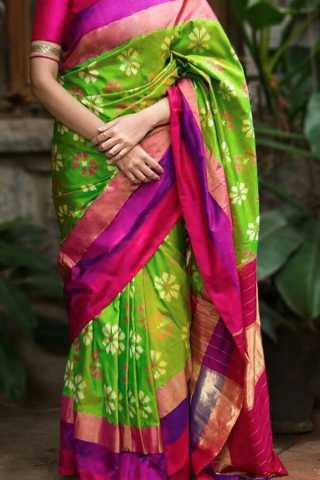 Gorgeous Green Colored Soft Silk Saree - CD138