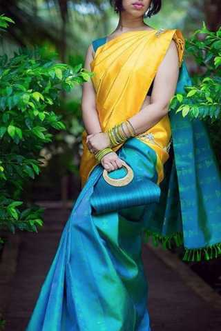 Unique Yellow-Blue Colored Soft Silk Saree - CD153