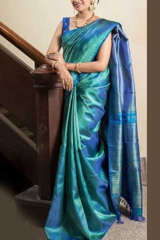 Blooming Blue Colored Soft Silk Saree - CD155