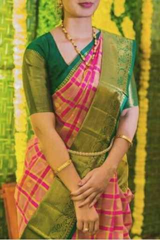 Elegent Green Border Soft Silk Saree - CD158