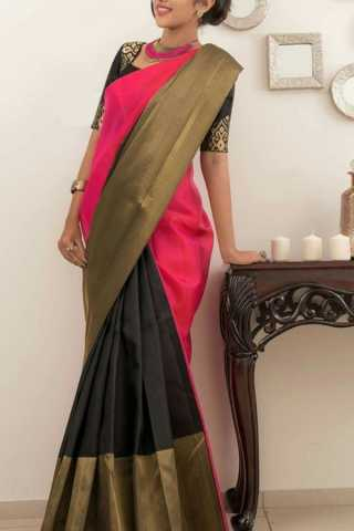 Ideal Black-Pink Colored Soft Silk Saree - CD159