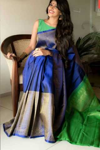 Desirable Blue Colored Soft Silk Saree - CD163