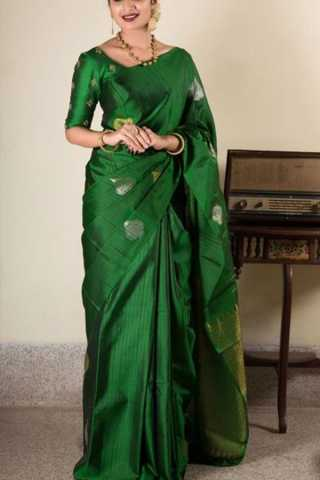 Great Green Colored Soft Silk Saree - CD170