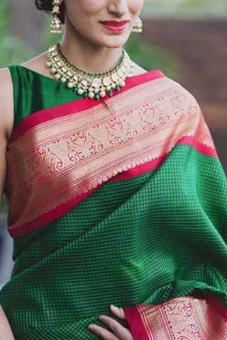 Epitome Green Colored Soft Silk Saree - CD176