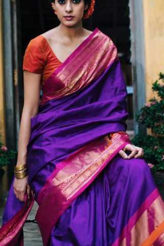 Elegant Purple Colored Soft Silk Saree - CD177