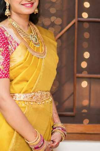 Glowing Yellow Colored Soft Silk Saree - CD186