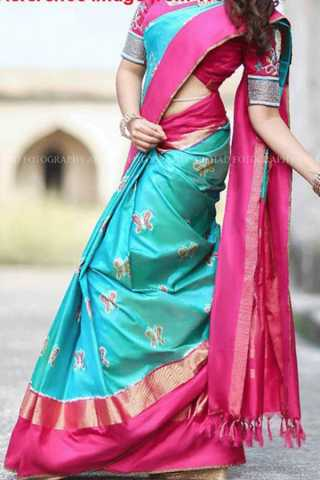 Unique Pink Border Soft Silk Saree - CD188