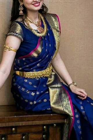 Innovative Blue Colored Soft Silk Saree - CD194