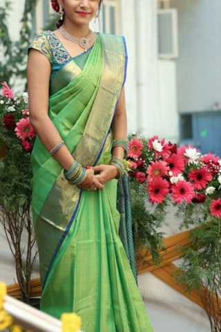 Alluring Green Colored Soft Silk Saree - CD196