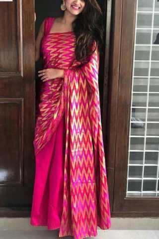 Pink Colored Capricious Soft Silk Fancy Partywear Functional Saree - CD219